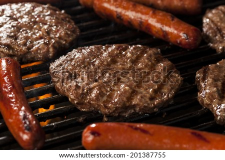Delicious Hamburgers and Hot Dogs on the Grill