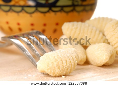 Delicious hand made Gnocchi using a fork