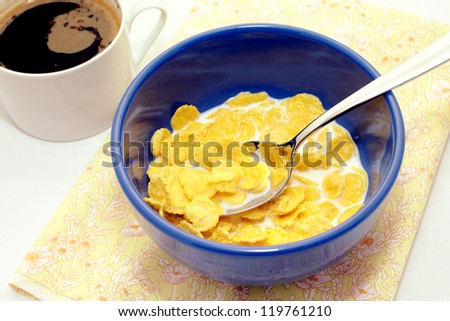 Delicious healthy breakfast of cereal and coffee