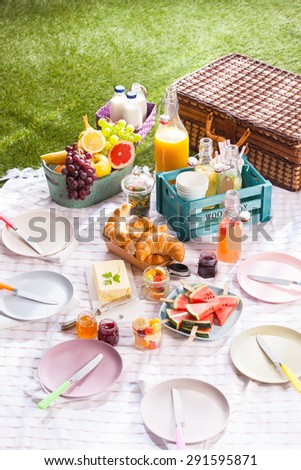 Delicious healthy summer picnic on the grass with a bowl of fresh tropical fruit, croissants, butter, sliced watermelon and assorted fruit juice in bottles alongside a wicker hamper
