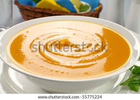 Delicious hearty homemade pumpkin soup ready to serve.