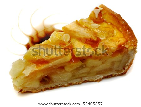 Delicious home baked apple pie isolated on white background