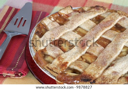 delicious home-made apple pie with cutter