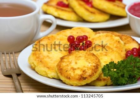 Delicious homemade cheese pancakes closeup