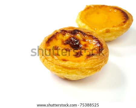 Delicious Hong Kong egg tart isolated on white background