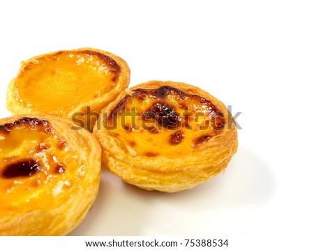 Delicious Hong Kong egg tart isolated on white background