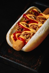 delicious hot dog on a dark background