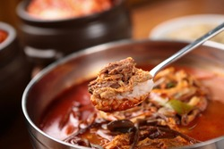 Delicious hot spicy meat stew in a hot pot