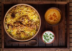 Delicious Hyderabadi mutton biryani top view