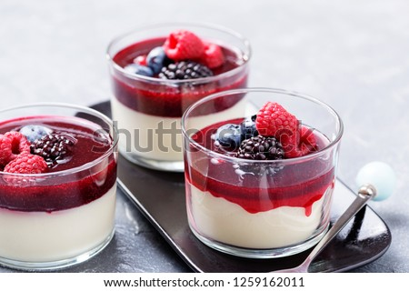 Delicious italian dessert panna cotta with berry sauce, fresh berries and mint on gray background. - Image