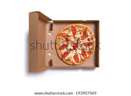 Delicious Italian pizza with ham and tomatoes in box, isolated on white background
