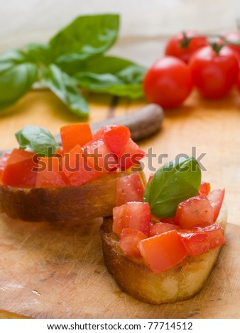 Delicious italian tomato bruschetta on toasted bread
