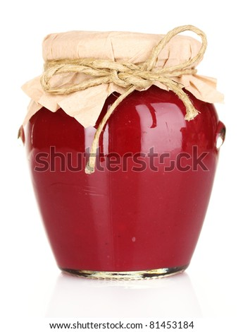delicious jam in the pot isolated on white