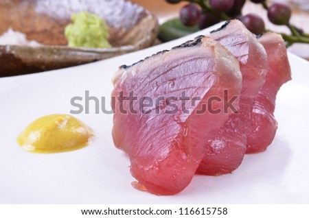 Delicious Japanese fresh raw seafood-Tuna  sashimi