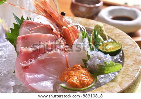 Delicious Japanese fresh raw seafoods-Sashimi