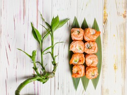 Delicious Japanese seafood sushi roll with salmon tataki and roasted black tiger shrimps on top served on bamboo leaves. Bamboo plant near dish on light colorful wooden background