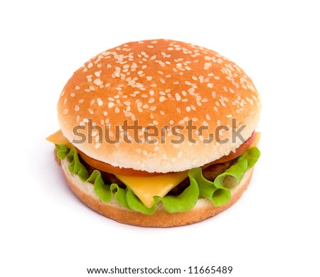 Delicious juicy cheeseburger with tomato on white background