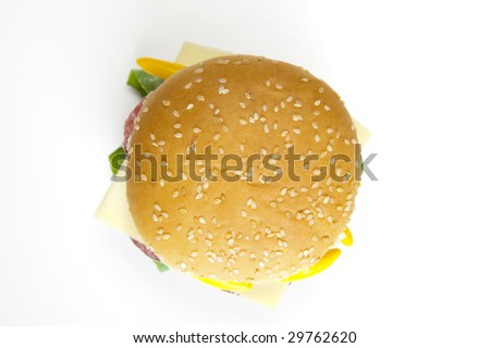 Delicious juicy hamburgery goodness with lettuce, tomato, cheese and ketchup