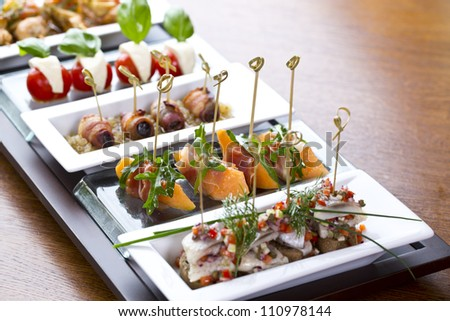 delicious looking side dishes / appetizer food or tapas
