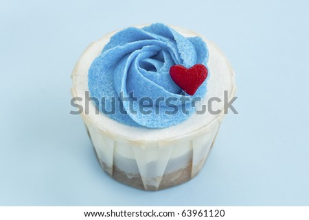 Delicious Love Cupcake with Blue Background