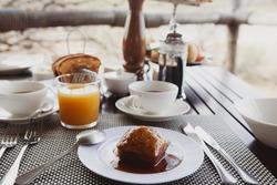 Delicious malva pudding for breakfast in the bush, Tanzania