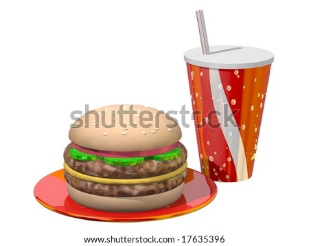 Delicious meal of hamburger and soft drink isolated on white