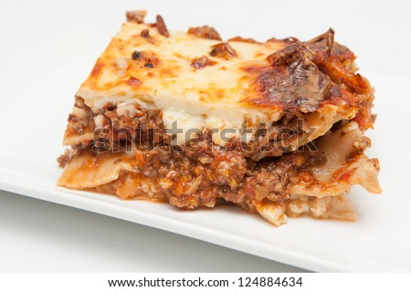delicious meat lasagna with shimji mushrooms - stock photo