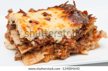 delicious meat lasagna with shimji mushrooms