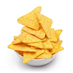 Delicious mexican nachos chips in white bowl, isolated on white background