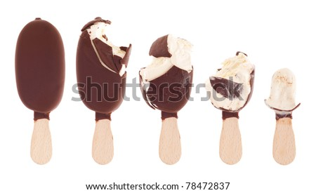 delicious milk chocolate ice cream (being eaten up, sequential images) isolated on white background