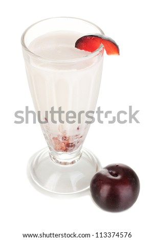 Delicious milk shake with fruit isolated on white
