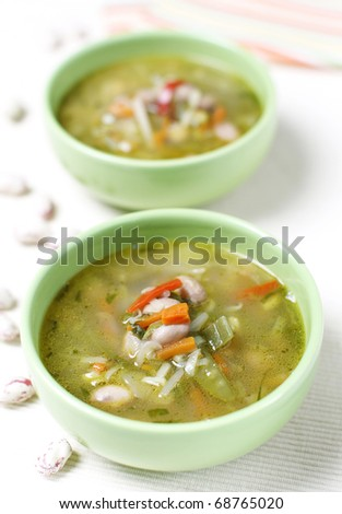 Delicious minestrone soup with beans and other health vegetables