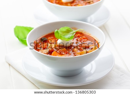 Delicious minestrone soup with mozzarella and basil