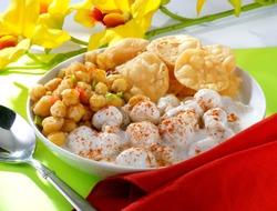 Delicious Mix Chat including chicpeas, gram flour dumplings in yogurt.