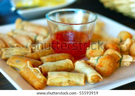 Delicious mix spring rolls with sweet chilly dip sauce