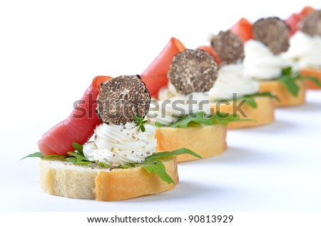 Delicious morsels with cream cheese, ham and Italian truffles