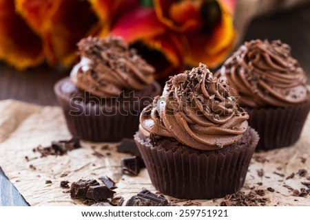 Delicious Mothers day  chocolate cupcakes  with spring tulips #259751921
