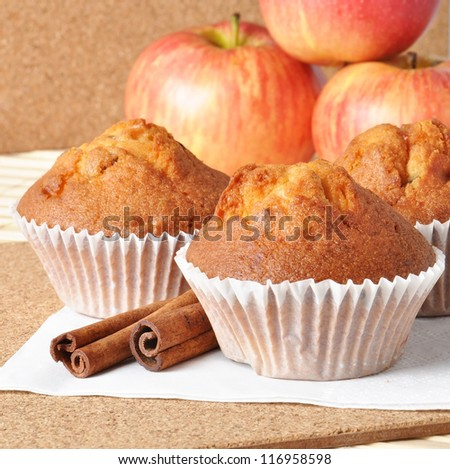 Delicious muffins with apple and cinnamon