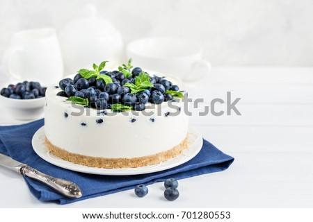 delicious no baked cheesecake with fresh blueberry, selective focus,