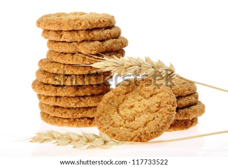 Delicious oatmeal cookie isolated on white background