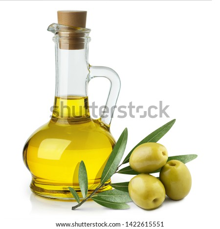Delicious olive oil in a glass bottle and green olives with leaves, isolated on white background #1422615551