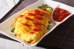 Delicious Omurice omelette with ketchup close-up on a plate. Horizontal