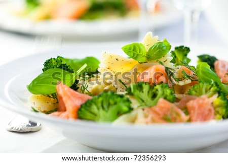 Delicious Pasta Salad With Salmon Broccoli And Fresh Herbs