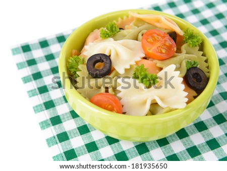 Delicious pasta with tomatoes on plate on table close-up #181935650