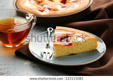 Delicious pie with  caramel glaze