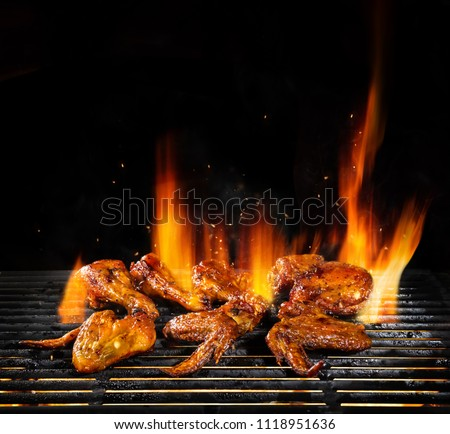 Delicious pieces of chicken meat on grill with Fire flames. Isolated on black background. Barbecue and grilling. Very high resolution image