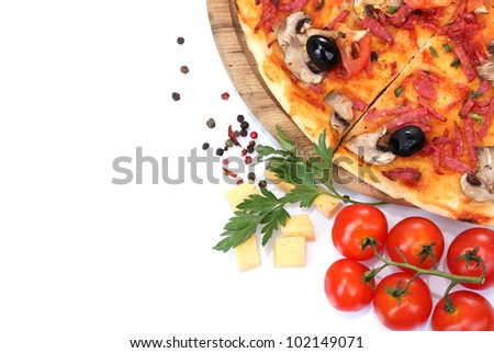 delicious pizza and vegetables isolated on white