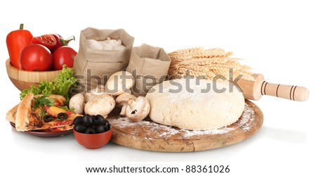 delicious pizza, dough and vegetables isolated on white