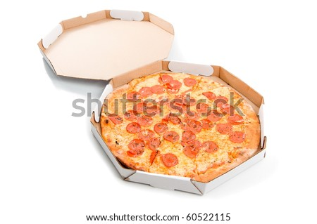 Delicious pizza in the delivery box on white .
