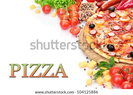 delicious pizza with vegetables and salami isolated on white